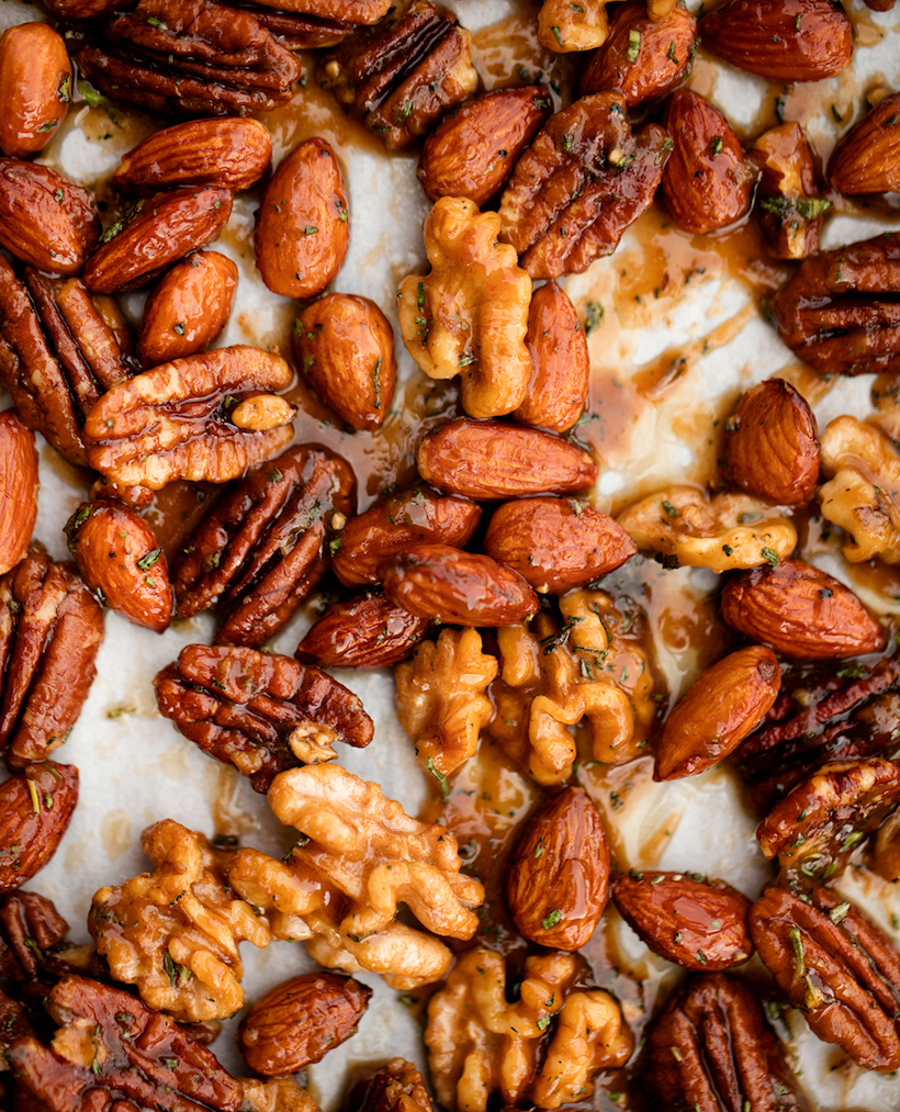 Maple Roasted Nuts with Mixed Herbs - Camille Styles