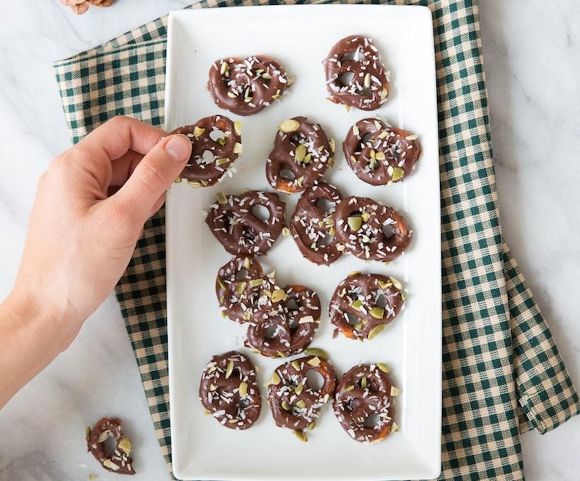 pistachio, coconut and sea salt chocolate covered pretzels