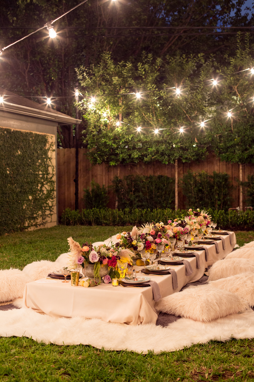 A bohemian backyard dinner party camille styles for Outdoor dinner party decorating ideas