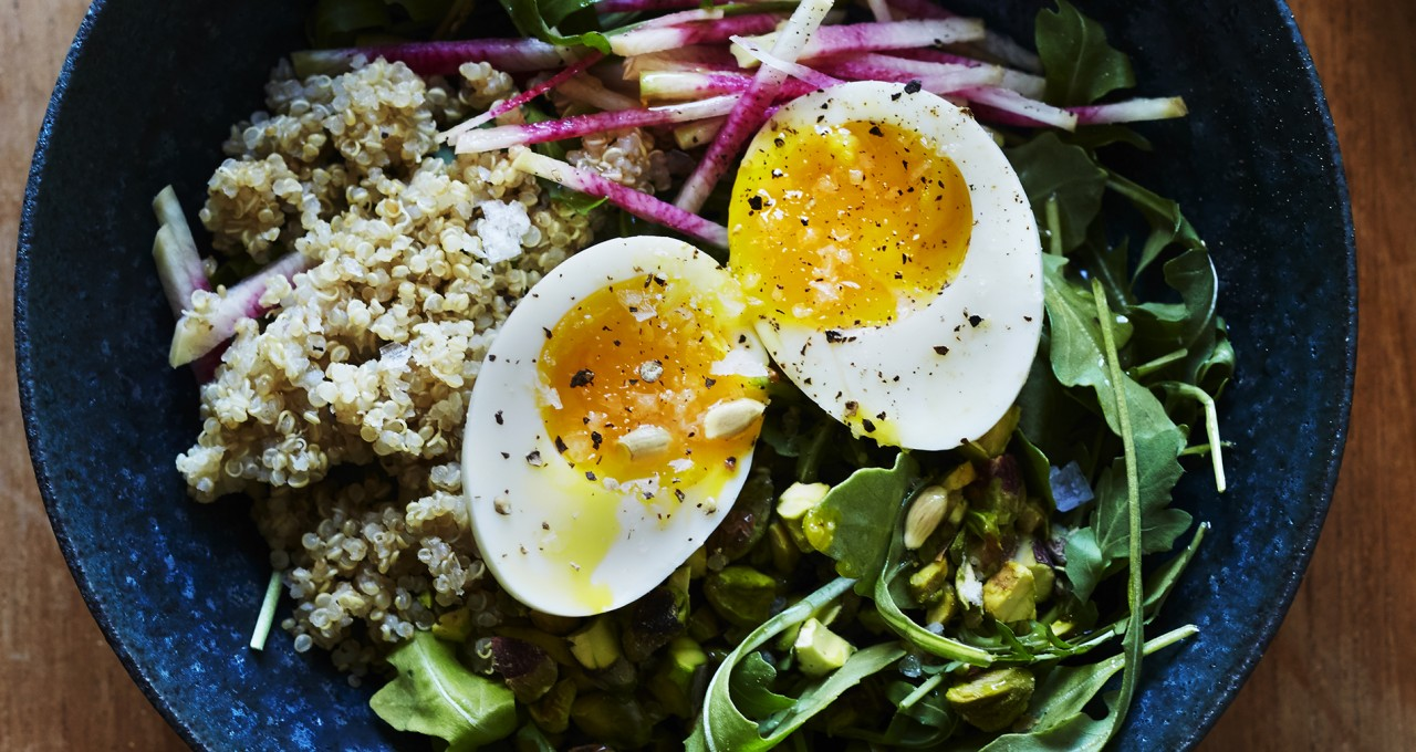 Arugula Breakfast Salad with Toasted Pistachio, Radish & Soft Eggs