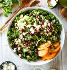 kale, persimmon, & pomegranate salad