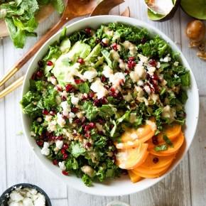 kale, persimmon, & pomegranate salad
