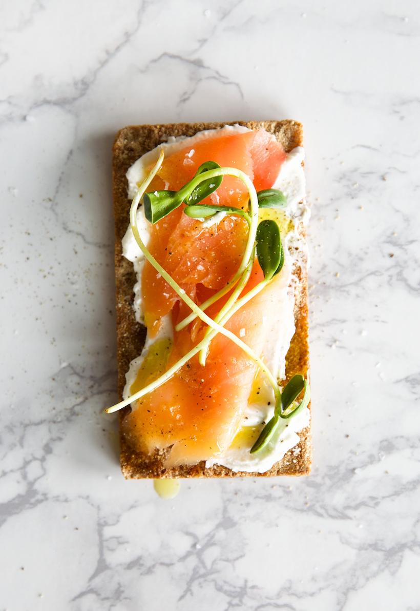goat cheese and salmon wasa cracker