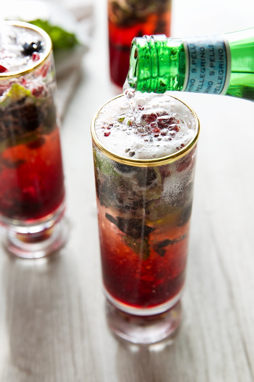 "minty pomegranate punch ""mocktail"""