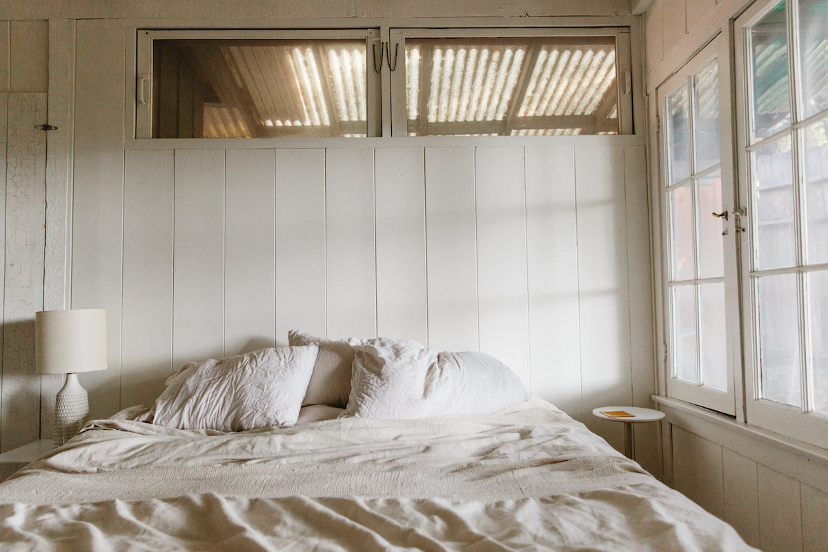 comfy bed at a malibu beach home