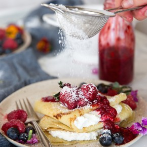 Raspberry & Ricotta Crepes with Fresh Berries & Raspberry Sauce