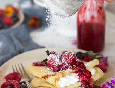 Raspberry & Ricotta Crepes with Fresh Berries & Raspberry Sauce