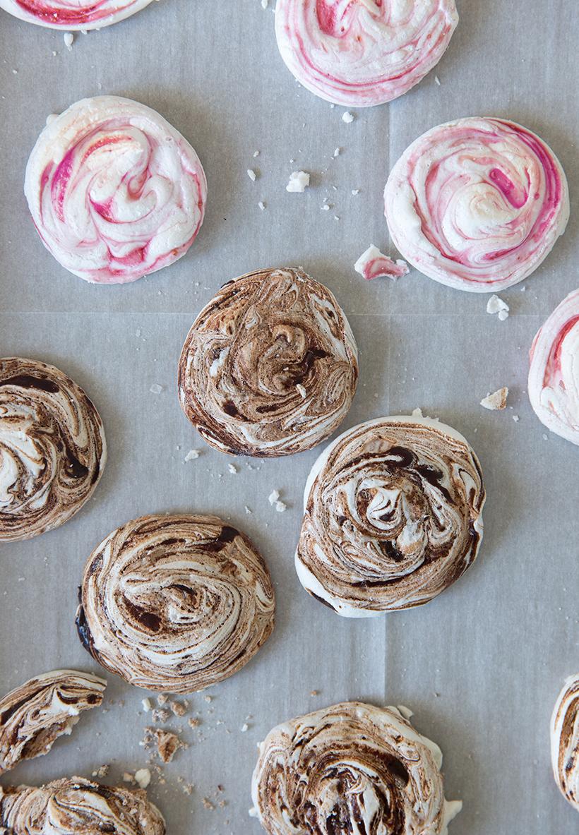 Chocolate Espresso and Raspberry Swirl Meringues To Wow Your Valentine