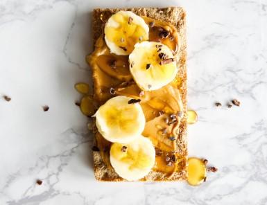 Banana Almond Butter Wasa Cracker Toast