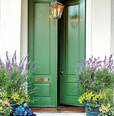 sage green front door color
