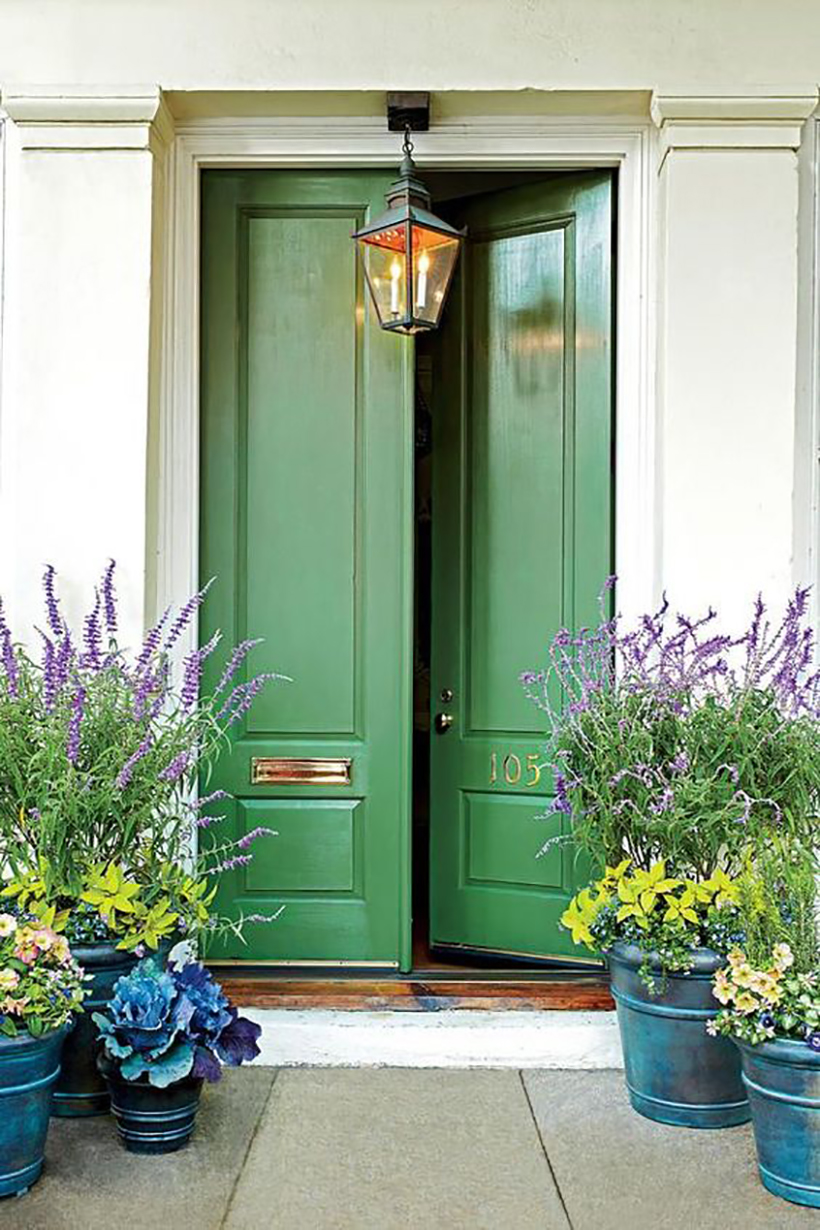 sage green front door color & 10 Colorful Front Doors Thatu0027ll Make You Want to Bust Out the Paint ...