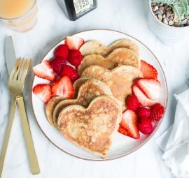 heart-shaped valentine's pancakes