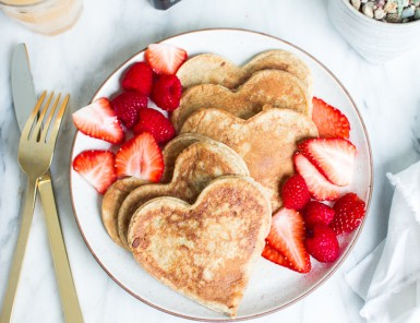 heart-shaped valentine's pancakes
