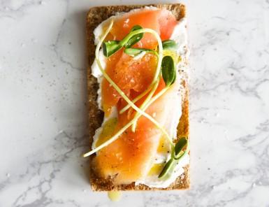 goat cheese and smoked salmon wasa cracker breakfast toast