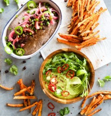 southwestern black bean hummus & spicy cilantro hummus with sweet potato fries