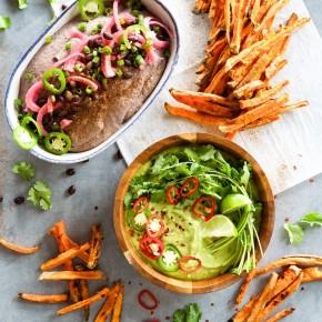 southwestern black bean hummus & spicy cilantro hummus with sweet potato fries