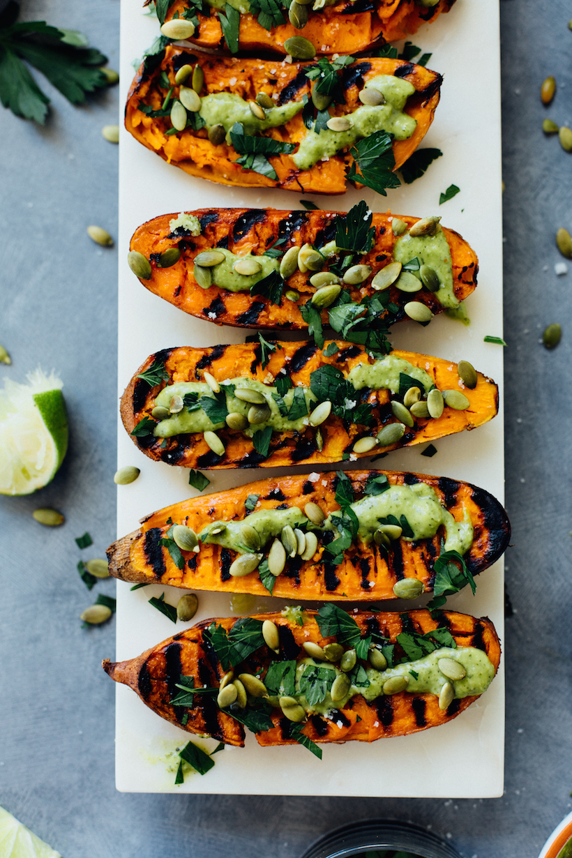 smashed grilled sweet potatoes with chimichurri