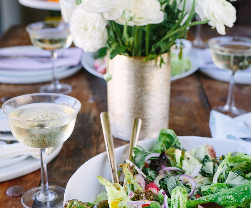 salad and champagne