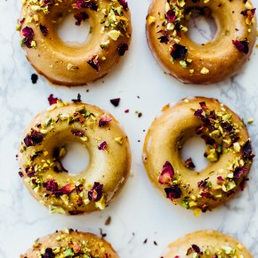 Baked Citrus Donuts with Rosewater Glaze
