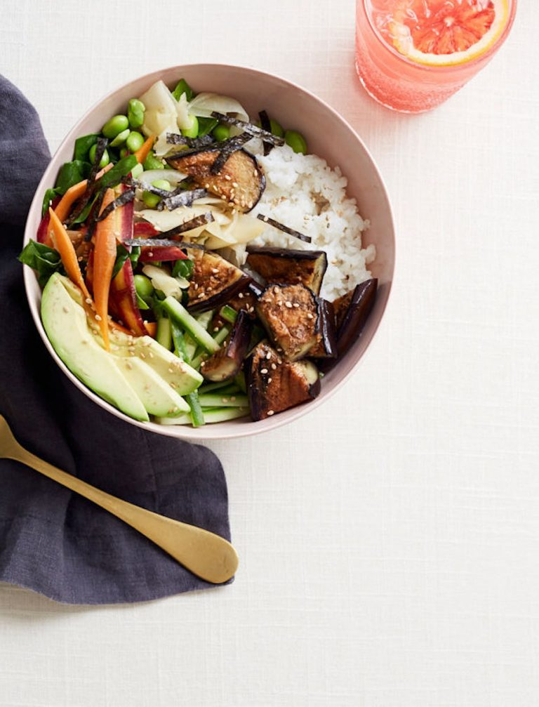 sushi bowl with miso glazed eggplant from goop