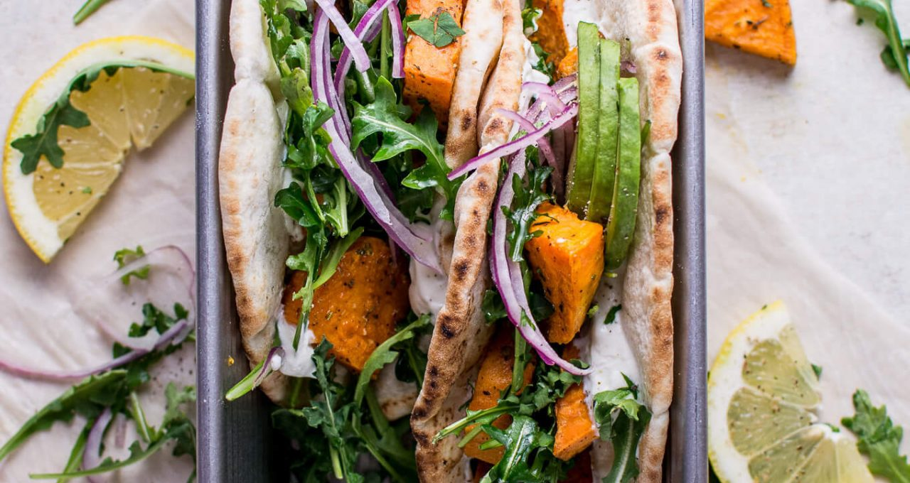 sweet potato pitas with arugula & garlic dressing