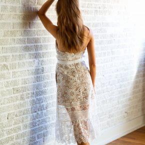 pretty white lace dress for spring wardrobe