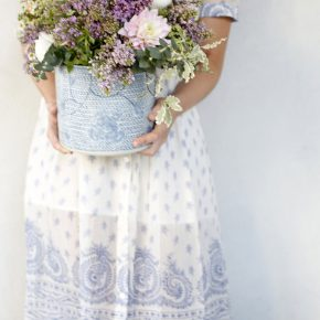 a bucket of springtime blooms