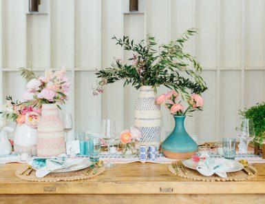farmhouse table at springtime brunch