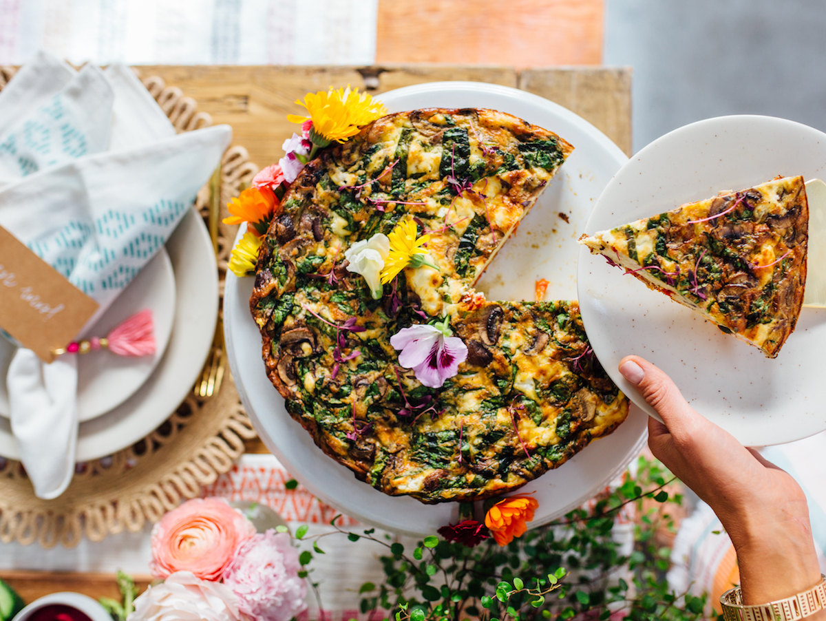 spring frittata with greens and ricotta