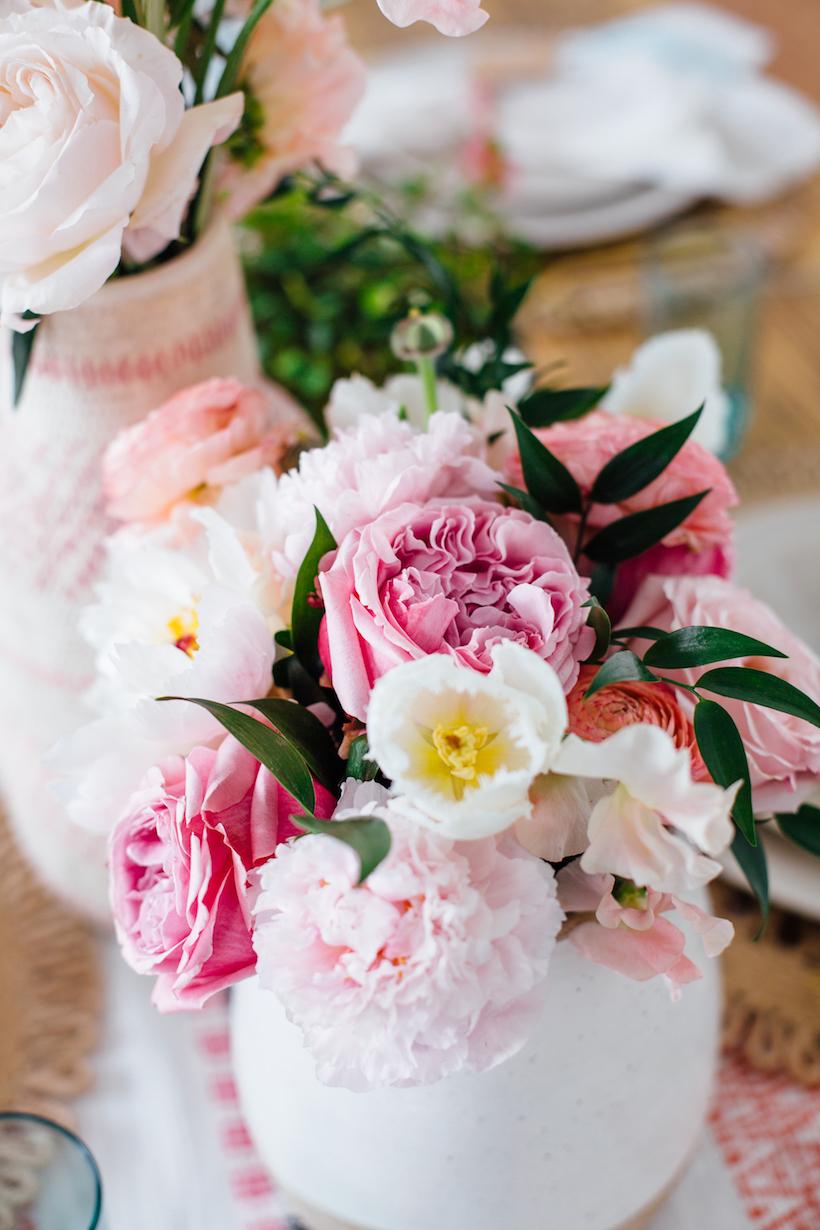 the prettiest springtime flowers: peonies, ranunculus & roses