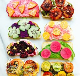 rainbow toast with all the beautiful toppings