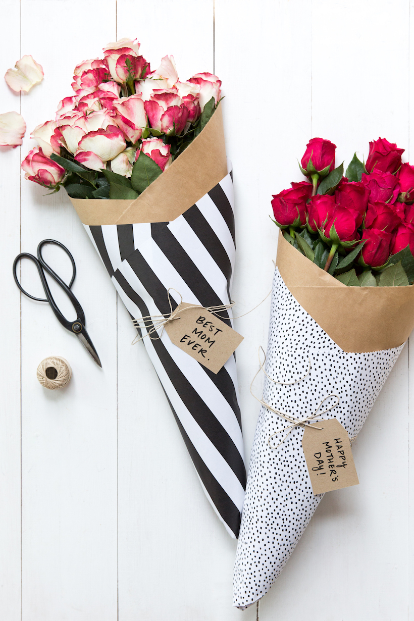 wrap a bouquet with wrapping paper