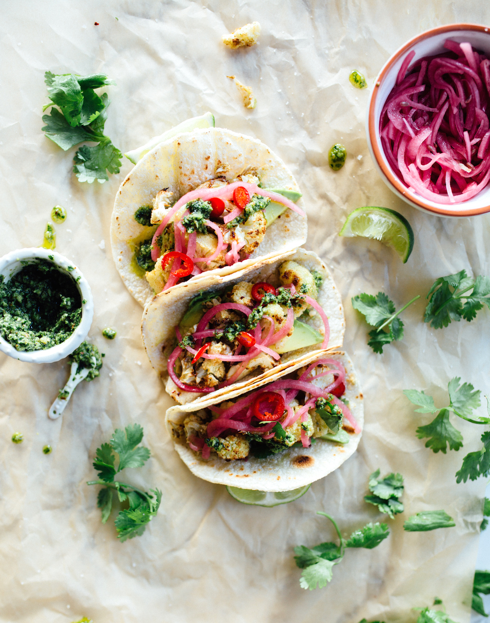 Roasted Cauliflower Tacos with Cilantro Pesto - a healthy, delicious (vegetarian!) way to satisfy those taco cravings