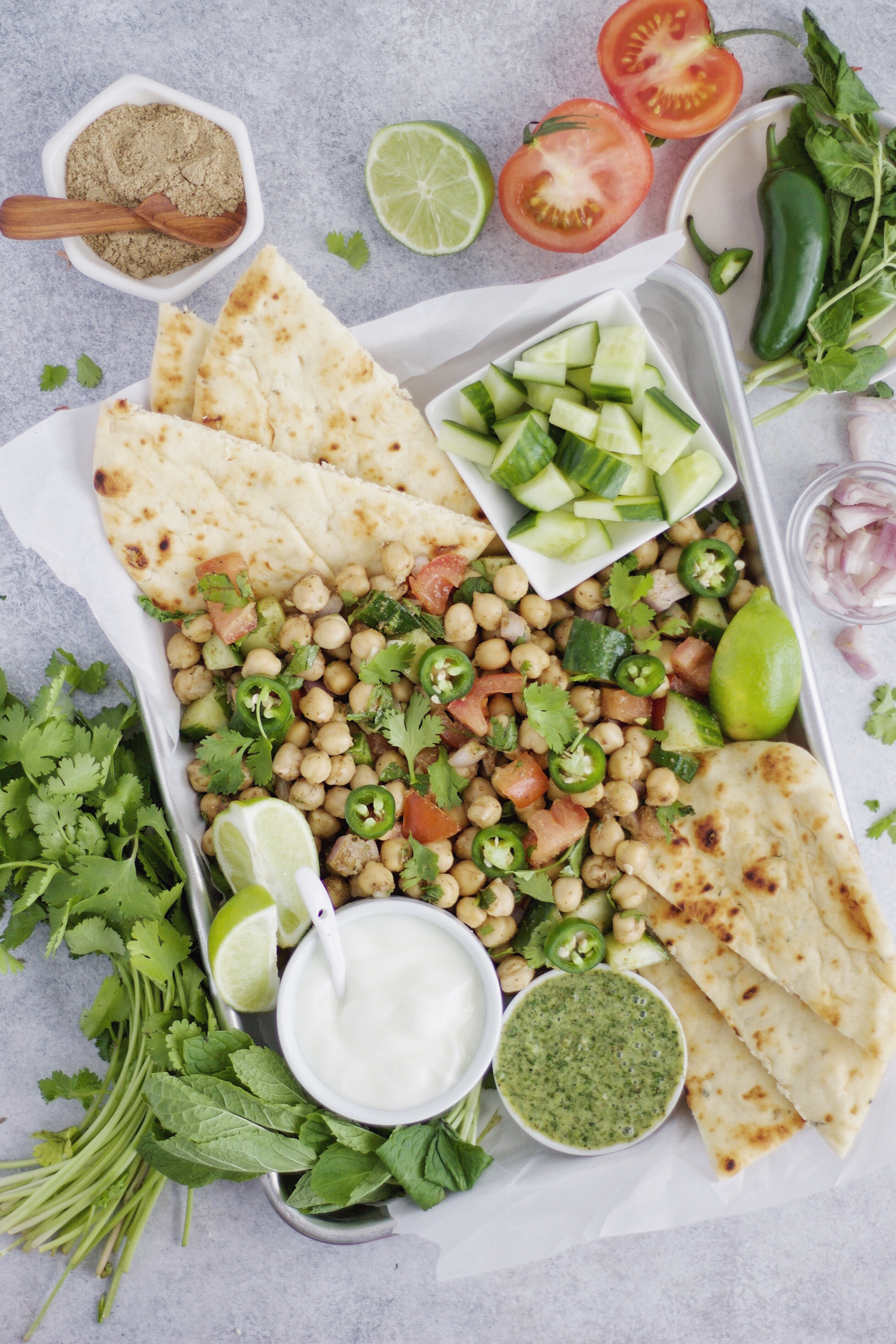 Cumin Chickpea Salad with Mint Chutney from This Brown Kitchen