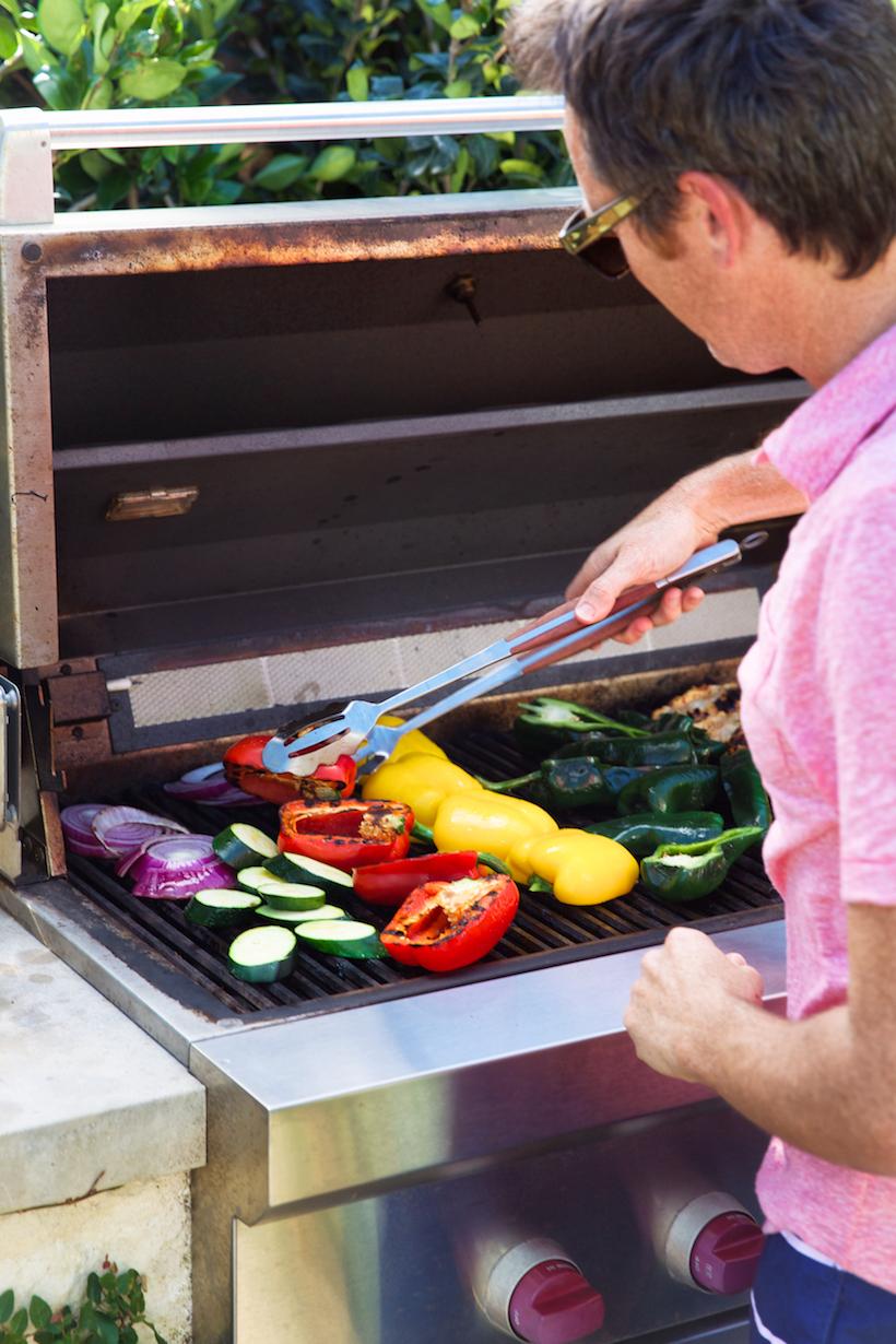 grilling veggies for fajitas