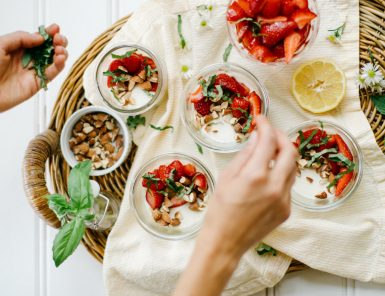 Vanilla Panna Cotta with Strawberries, Basil & Almonds