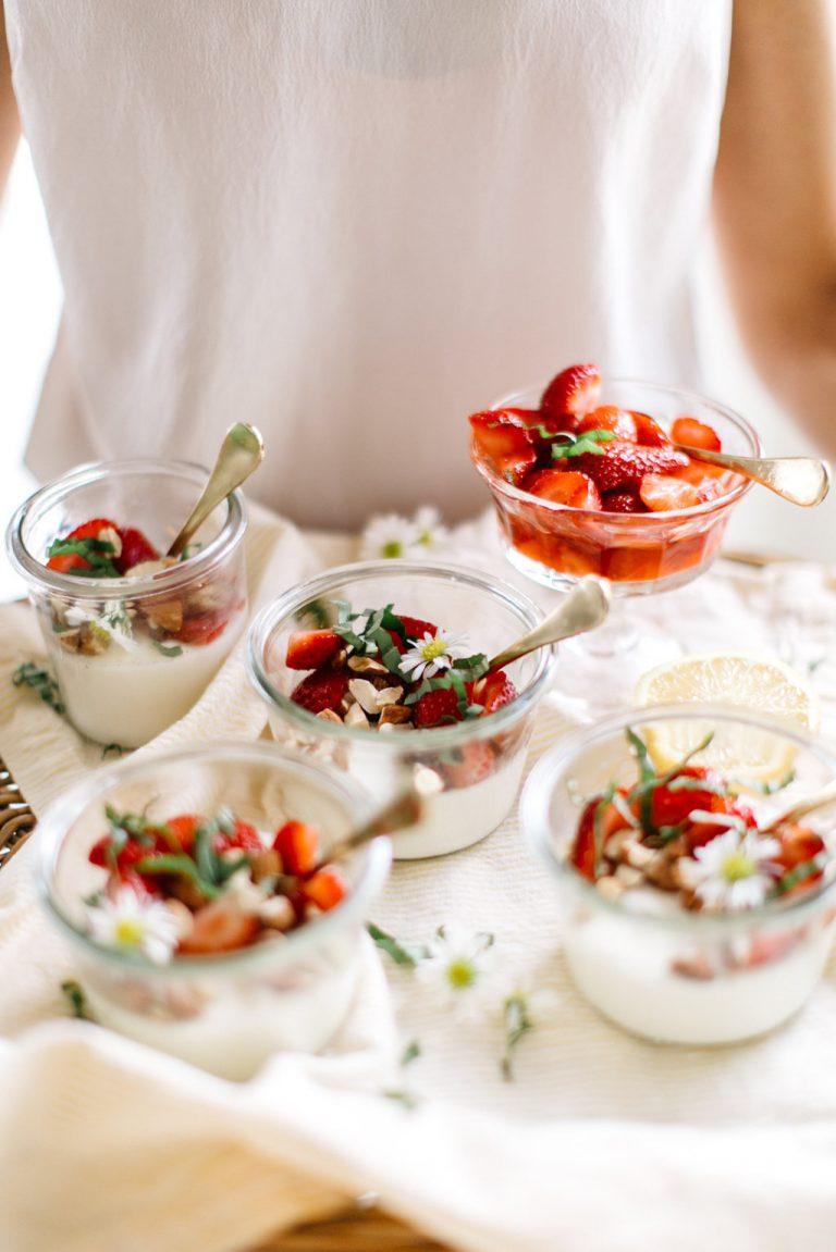 Vanilla Panna Cotta with Strawberries, Basil & Almonds