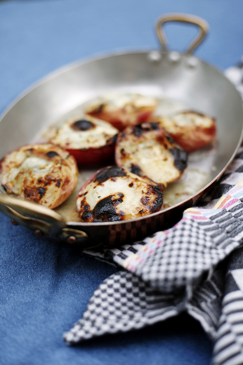 roasted white peaches with roquefort