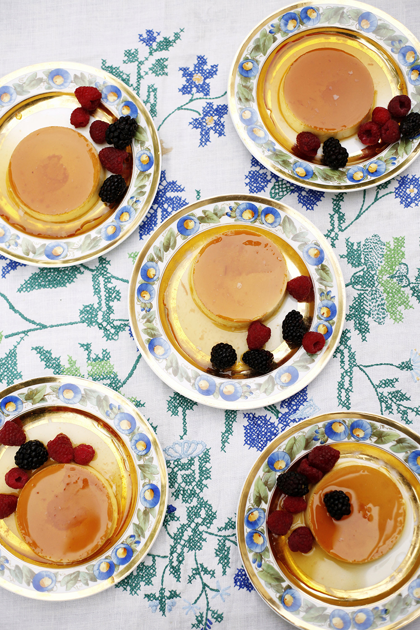 creme caramel with fresh berries