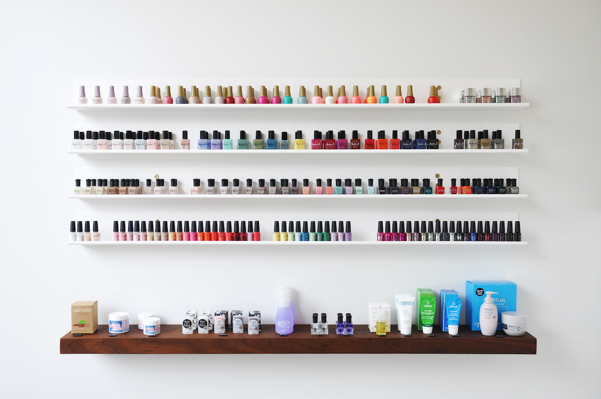 nail polish wall, paloma nail salon