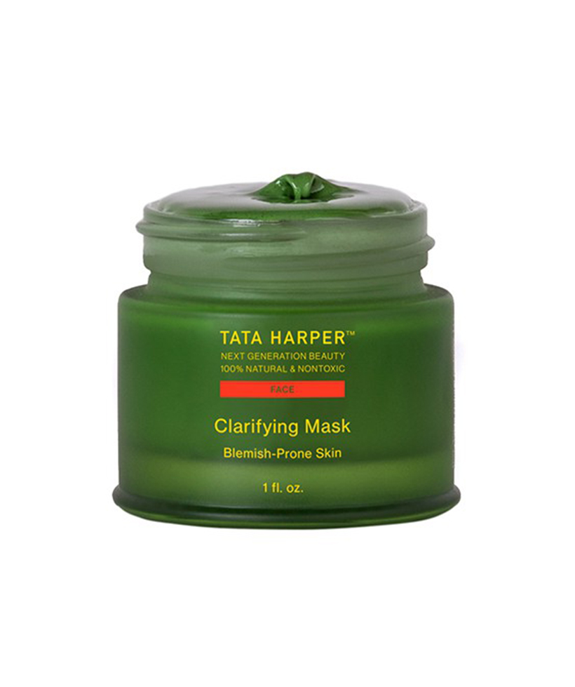 Tata Harper Clarifying Mask If acne has been plaguing you (random breakouts are always an issue for me during the hotter and more humid months), this clarifying mask by natural-beauty-guru Tata Harper will clear things right up. A powerful mix of salicylic acid, a super fruit AHA blend, and lactic acid all work together to purify and exfoliate, while chlorella nourishes and hydrates.