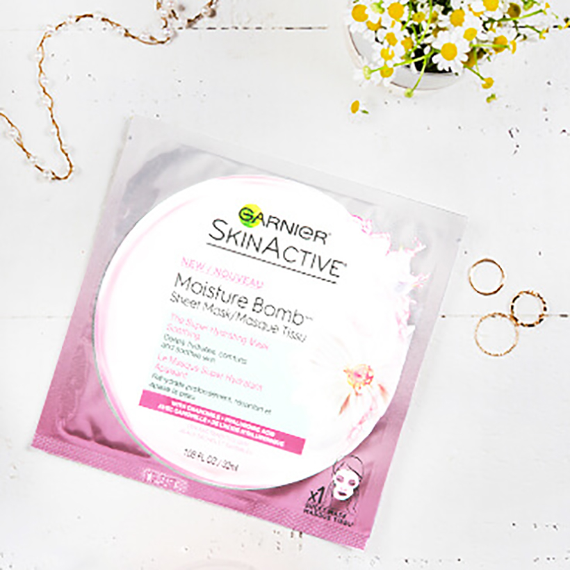 Garnier SkinActive Moisture Bomb Sheet Mask Sheet masks are an exciting new addition to the beauty market that originated in Korea. Simply throw one of these cool pre-loaded masks into your bag while traveling and apply when you arrive to totally revitalize your skin with a serious dose of hyaluronic acid (and no mineral oil or petrolatum, which can clog pores).