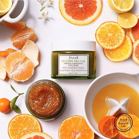 Fresh Vitamin Nectar Vibrancy Boosting Face Mask This yummy mask is made from a proprietary mix of lemon, orange and clementine peels, whose natural fruit acids gently exfoliate and brighten the skin without the addition of chemical or acid exfoliators.