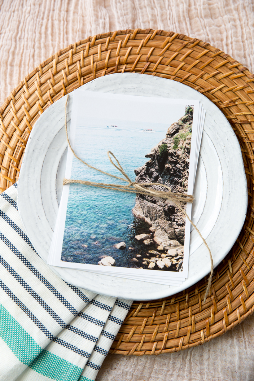 Travel postcard place setting