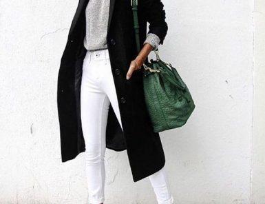 black long jacket, green bag