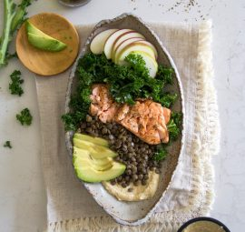 healthy salmon lentil salad