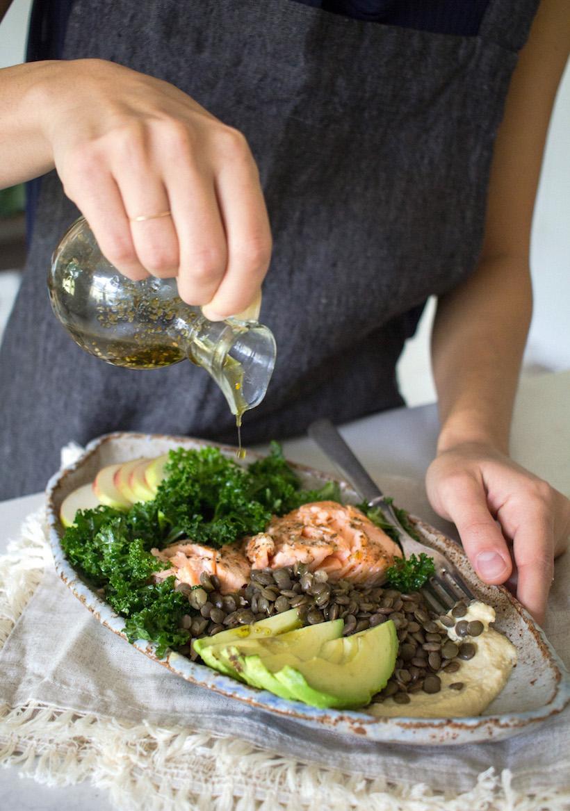 healthy salmon lentil salad