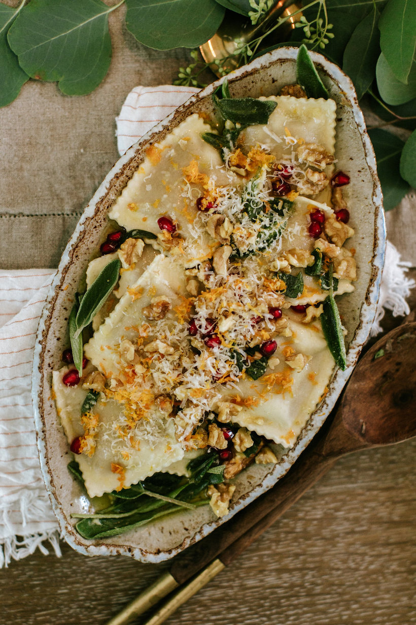 pumpkin ravioli with walnuts and sage