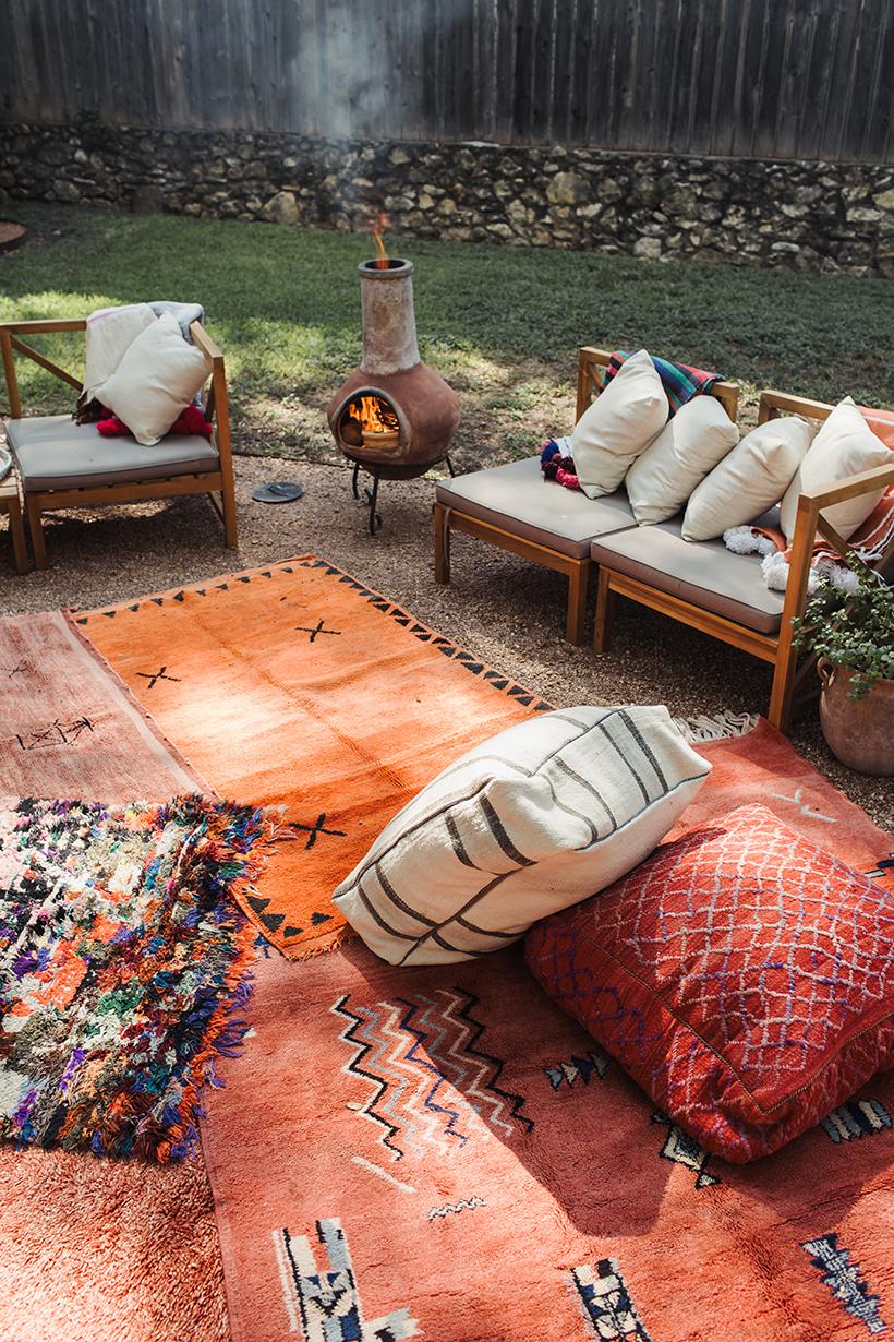 Cozy backyard with chiminea.