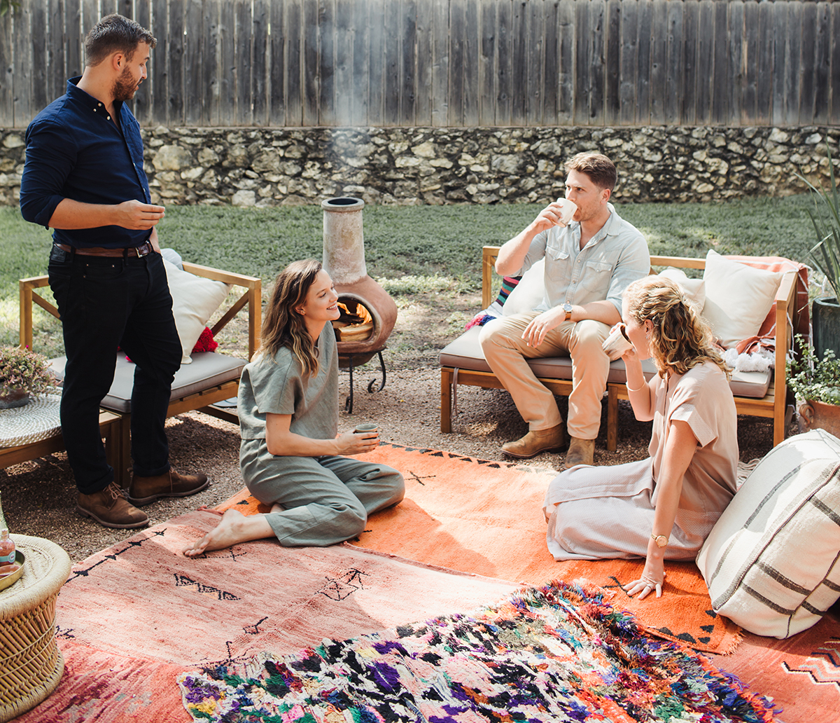 Mollie and Graham Brown of Due East entertaining in their Austin backyard.